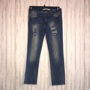 Zara Trafaluc Distressed Straight Ankle Jeans
